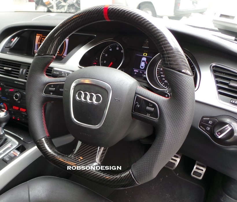 audi steering wheel carbon fiber with red ring robson design carbon fiber car accessories. Black Bedroom Furniture Sets. Home Design Ideas