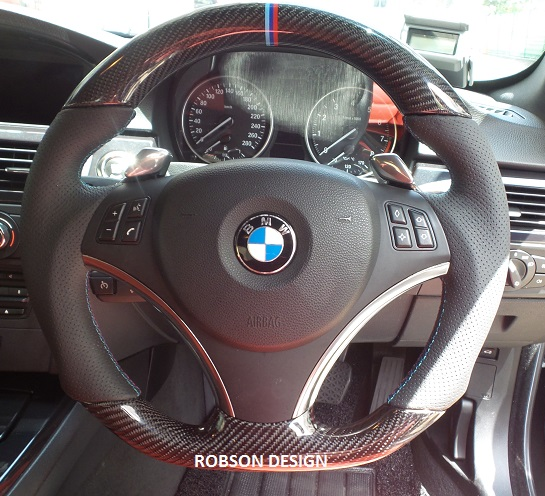 bmw e90 sports steering wheel carbon fiber robson design. Black Bedroom Furniture Sets. Home Design Ideas