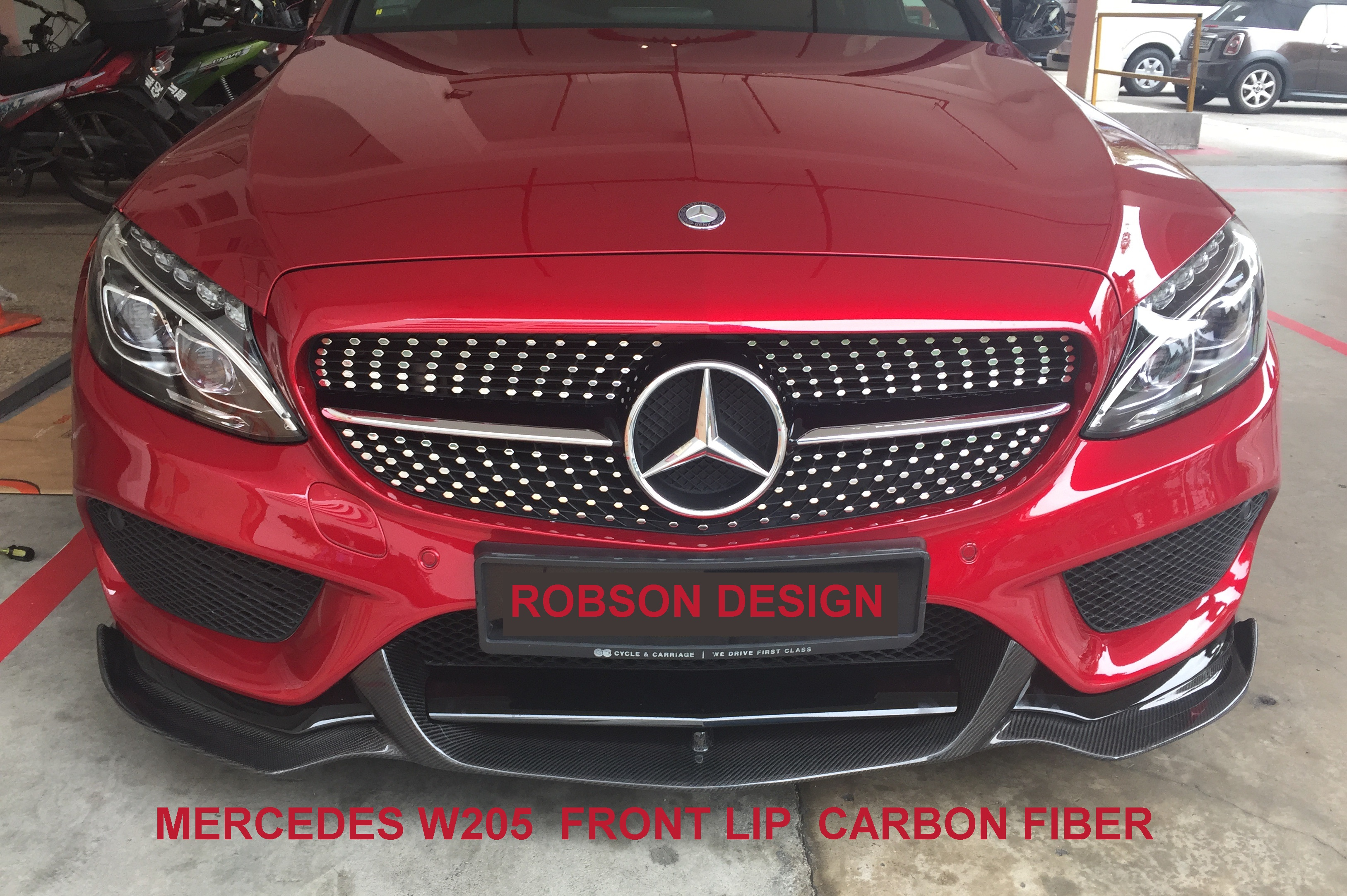 Mercedes benz c class c63 w205 amg front lip robson for Mercedes benz c300 accessories