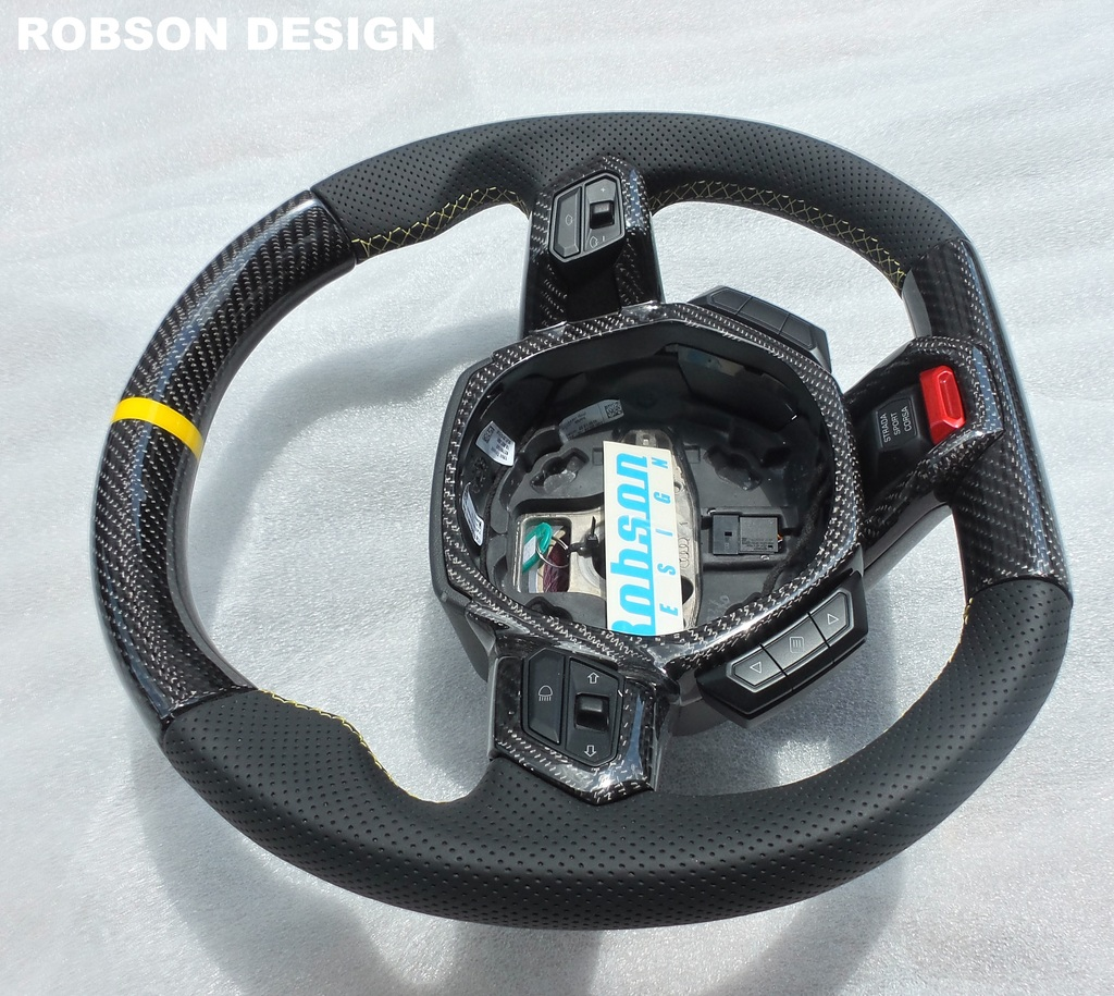 lamborghini huracan carbon fiber steering wheel with yellow ring robson design carbon fiber. Black Bedroom Furniture Sets. Home Design Ideas