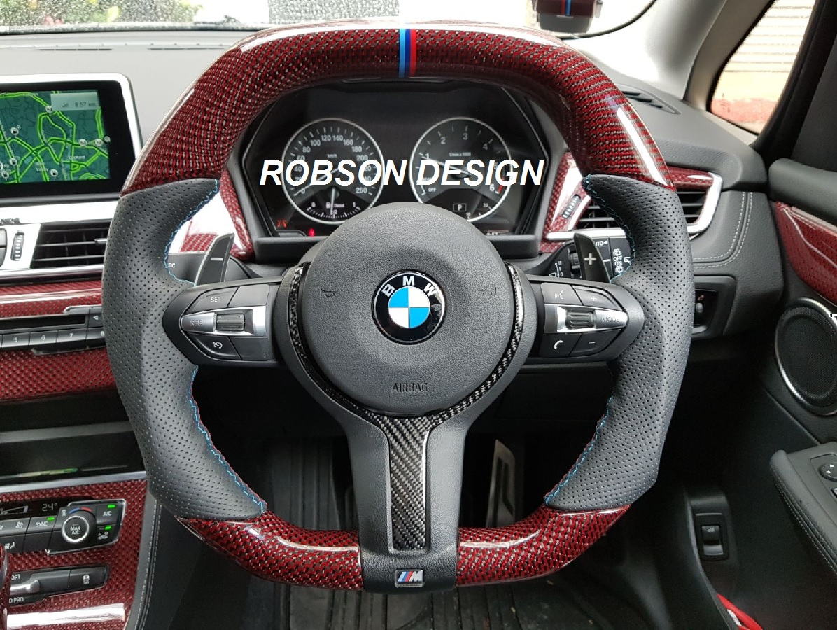 bmw carbon fiber steering wheel only 2 series 3 series 4 series m3 m4 red kelvar robson. Black Bedroom Furniture Sets. Home Design Ideas