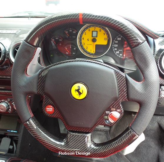 2016 Ferrari California Interior: STEERING WHEEL Carbon Fiber RED RING FERRARI 430
